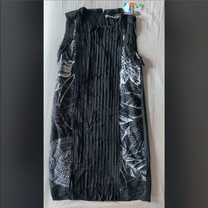 NWT DESIGUAL 34 SMALL BLACK SILK DRESS SLEEVELESS